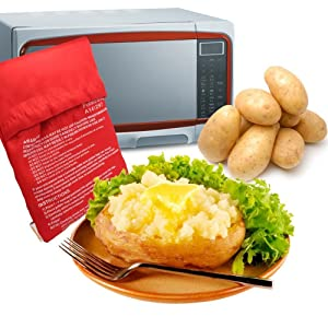 A-cool Microwave Potato Cooker - Perfect Oven Baked Potatoes in just 4 Minutes - Works on Any Type of Potatoes - Holds up to 3-4 Large Potatoes - Reusable and Machine Washable (1)
