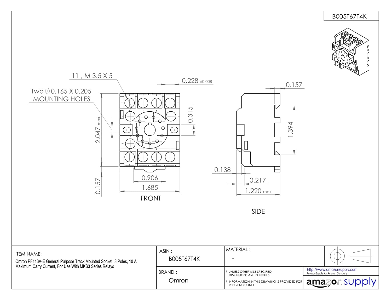 Lot Of 3 Omron PF113A-E Relay Sockets Socket Base 10A 250V #41D15