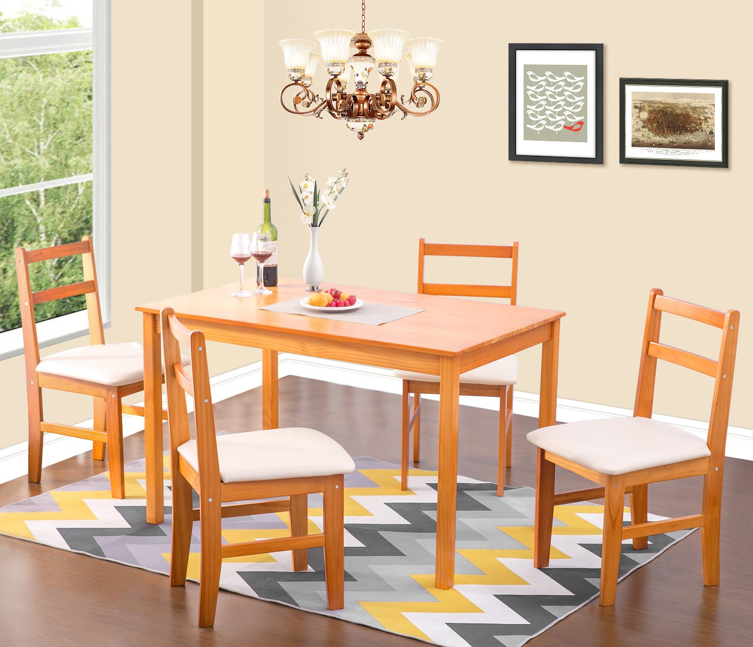 merax soild wood 5 piece dining sets 4 person dinning table and cushion seat dinning chairs. Black Bedroom Furniture Sets. Home Design Ideas