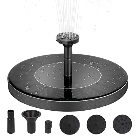 Solar Powered Fountain Pump with Battery Backup, 1 5W Solar Power Bird Bath  Free Standing Water Pump Panel Kit - Artificial Outdoor Fountain Watering
