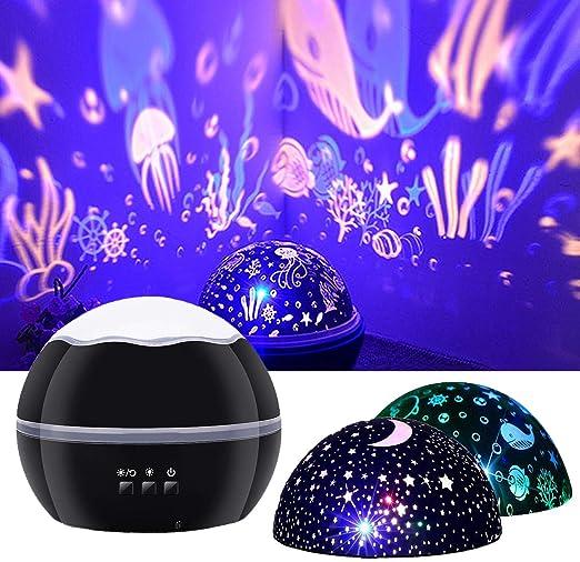 JOYYI Proyector de Luz Nocturna Estrella Cielo Oceano Pez Delfín ...