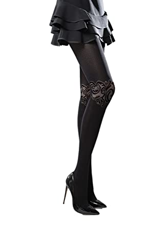 79eed6317d6333 Black Lace Patterned Vintage style Elegant Evening Thicker Tights Pantyhose  T66: Amazon.co.uk: Clothing