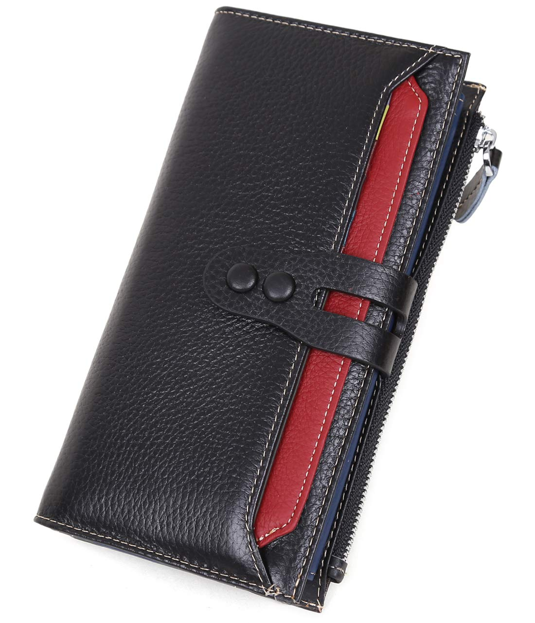 Genuine Leather Wallet for Women,Card Holder Wallet Multi Colored Coin Purse for Organizing Cards (Black)