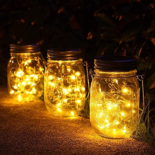 NEWYANG Solar Mason Jar Lights – 3 Pack 30LED Garden Hanging Lights String Lights Outdoor Indoor Waterproof Fairy Firefly for Home Courtyard Patio Lawn Party Christmas Decor Solar Lanterns Warm White