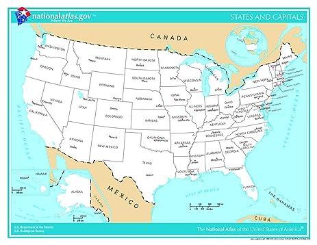 Amazoncom LAMINATED X Poster US Map States And Capitals - Amazon us map