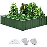 "KING BIRD 101""x 36""x 12"" 4 Installation Methods for DIY Raised Garden Bed Galvanized Steel Metal Planter Kit Box Grey W/ 8pcs"