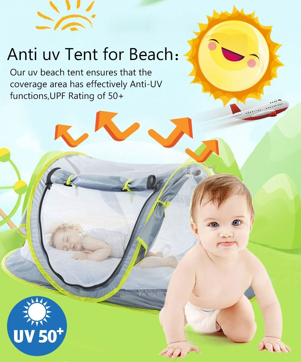 Baby Beach Tent UV Protection UPF 50+ Instant Beach Tent Sun Shelter Pop-up Outdoor Portable Newborn Travel Cribs Bed with Sleeping Pad, Mosquito Net and 2 Pegs Ultralight Weight by Monocho by Monocho (Image #2)