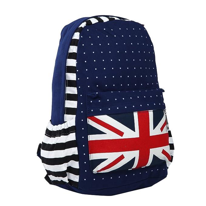 Premium Union Jack UK Flag Polka Dot Canvas Backpack School Shoulder Bag 384a03b37ce06