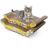 2 Pack Cat Scratcher Cardboard, Reversible Corrugated Cat Scratching Pad Replacement Scratcher Pad Lounge Sofa Bed (Catnip I