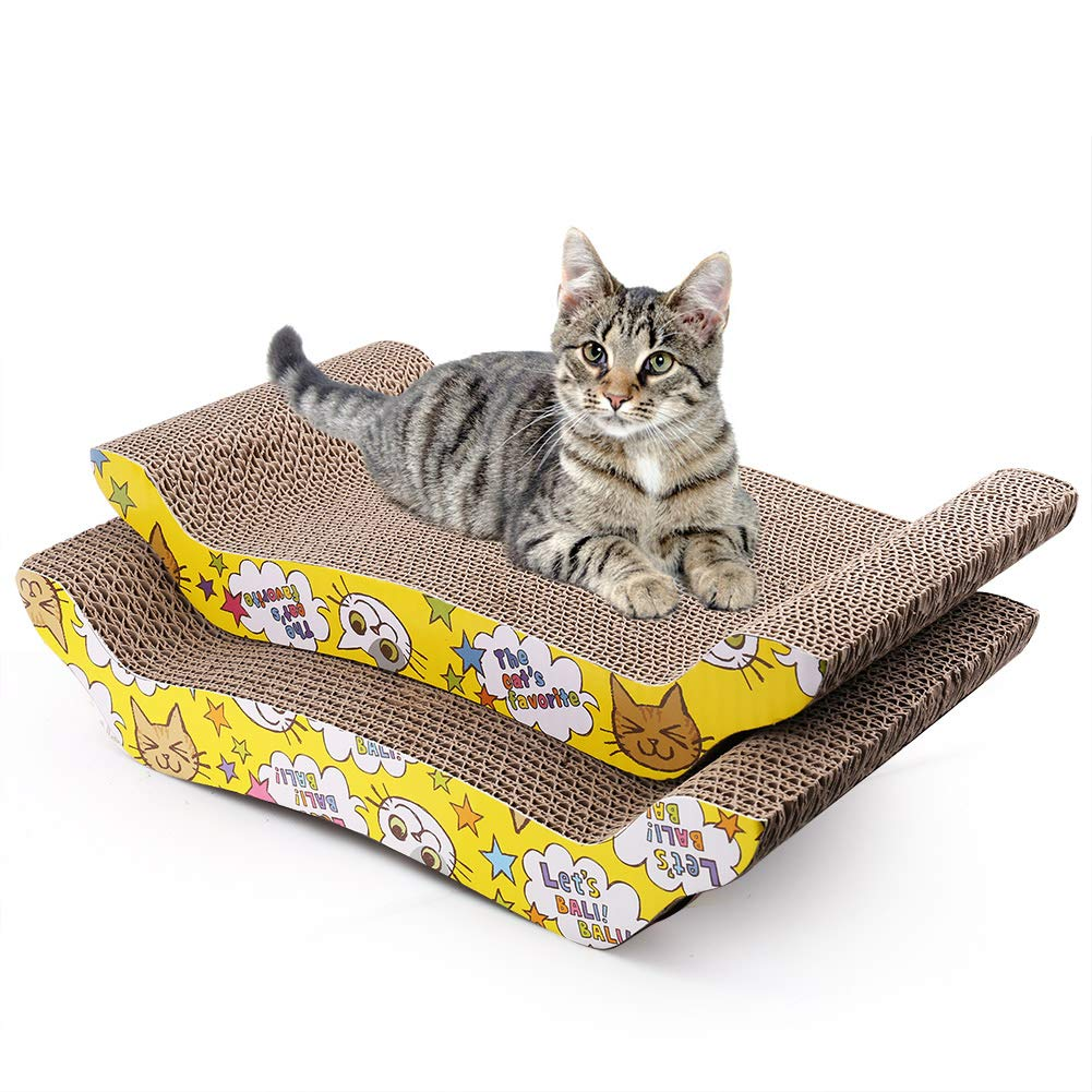 2 Pack Cat Scratcher Cardboard, Reversible Corrugated Cat Scratching Pad Replacement Scratcher Pad Lounge Sofa Bed (Catnip Included)