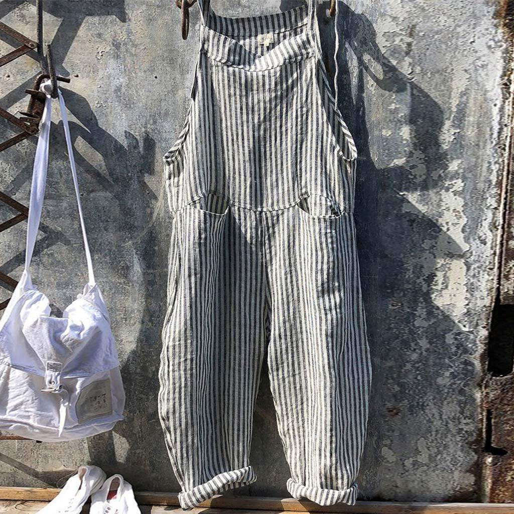 Pantalones de Rayas Mujer SUNNSEAN Moda Mujer Bolsillo Vendaje sin Mangas Mono de Rayas Body Playsuit Mameluco Anchos Monos de Vestir Mujer Jumpsuits Mujer Monos Mujer Verano