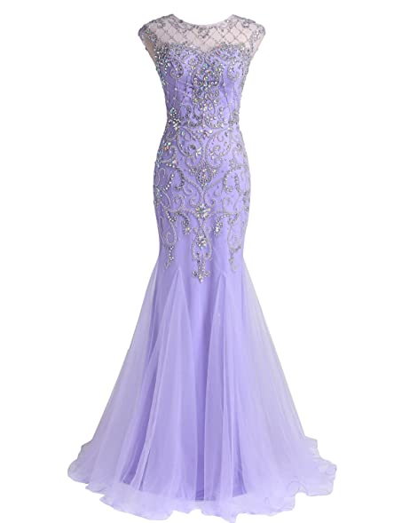 57bb56245a0 LucysProm Women s Prom Dresses Mermaid Scoop Beaded Bodice Tulle Dresses  Size 0 US Lilac