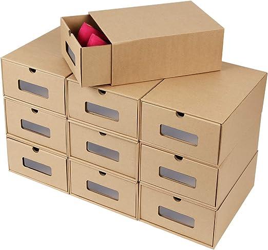 Sxspace 10 Cajas de Zapatos Zapatero Cajón Transparente Plegable Apilable Caja Guardar Zapatos Hechas de Papel Favorable al Medio Ambiente: Amazon.es: Hogar