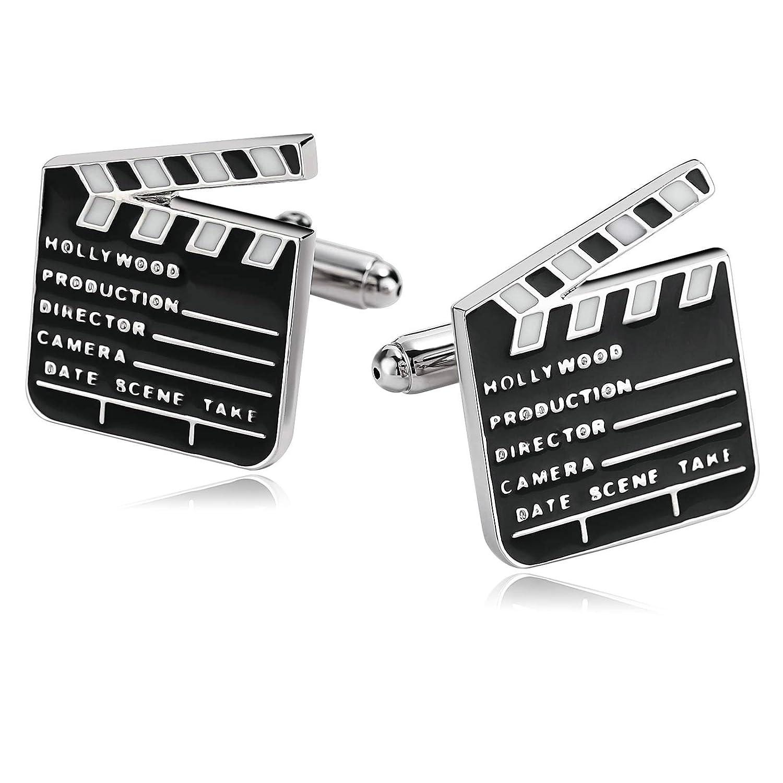 Gnzoe Homme Acier inoxydable Chemise Mariage Movie Clapper Board Blanc Noir