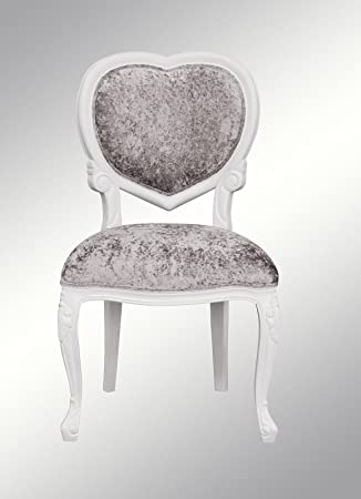 Louis XV Medee   French Heart Chair   White With Crushed Silver Velvet    LXv097