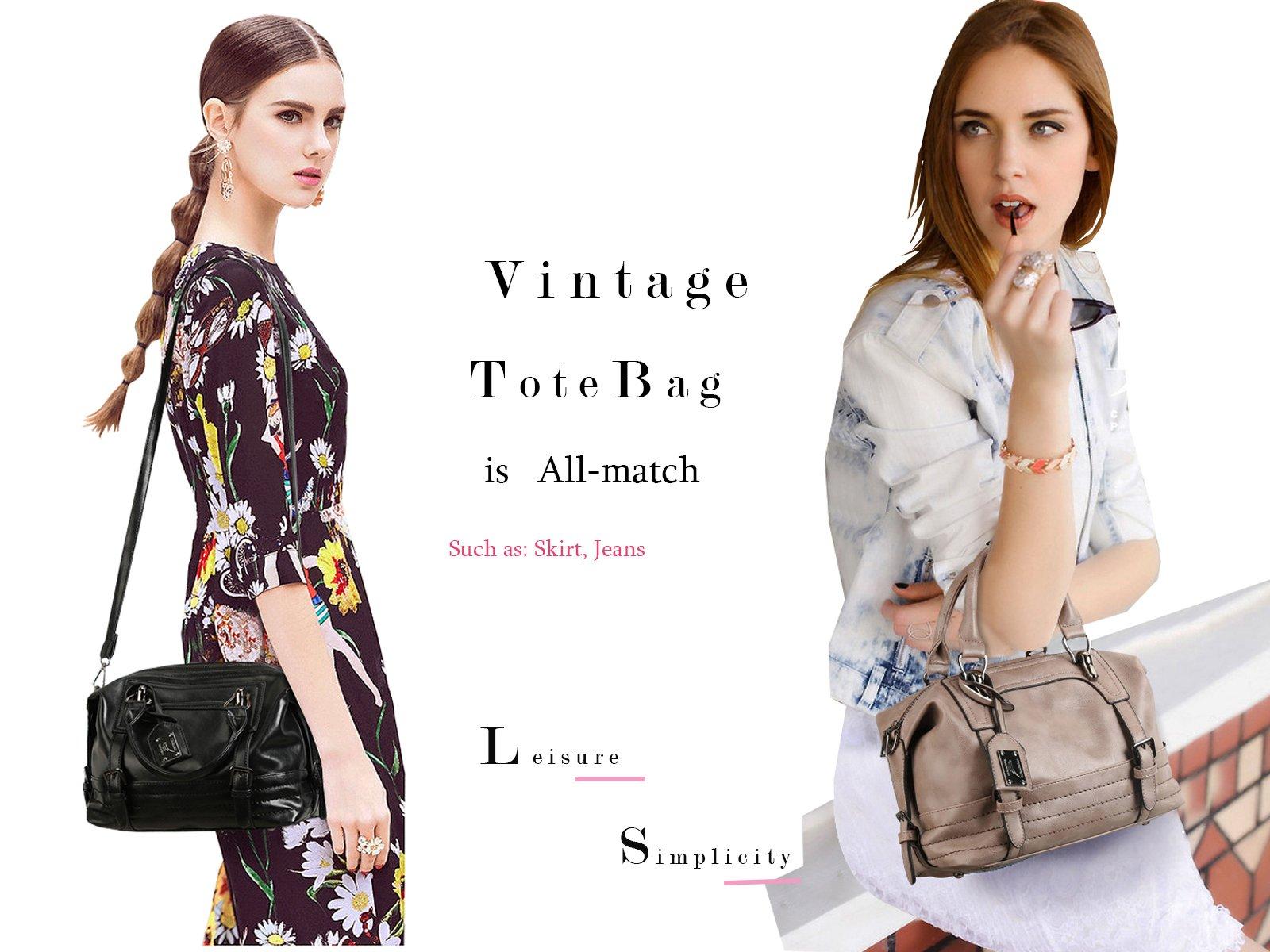 Juilletru Black Women Tote Bags PU Leather Handbags Top Handle Vintage Purse Crossbody Shoulder Bag by Juilletru (Image #7)