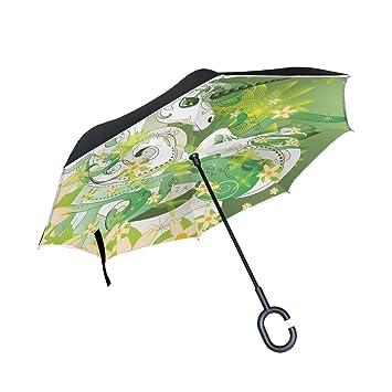 BENNIGIRY - Paraguas invertido de unicornio con muelle con diseño plegable en la parte trasera,