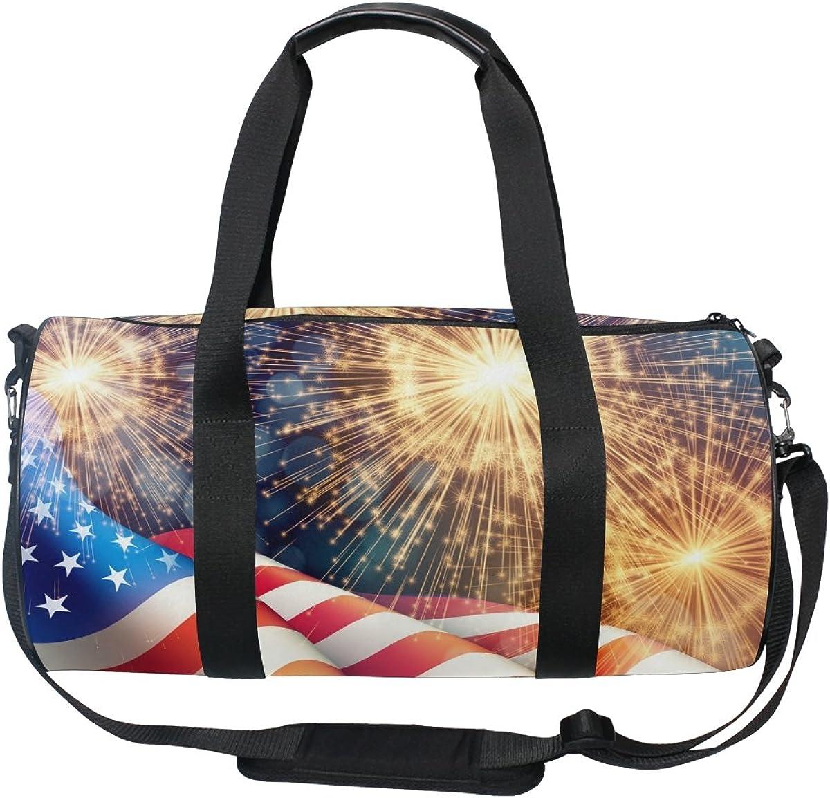 ALAZA 4th of July with Fireworks Sports Gym Duffel Bag Travel Luggage Handbag for Men Women
