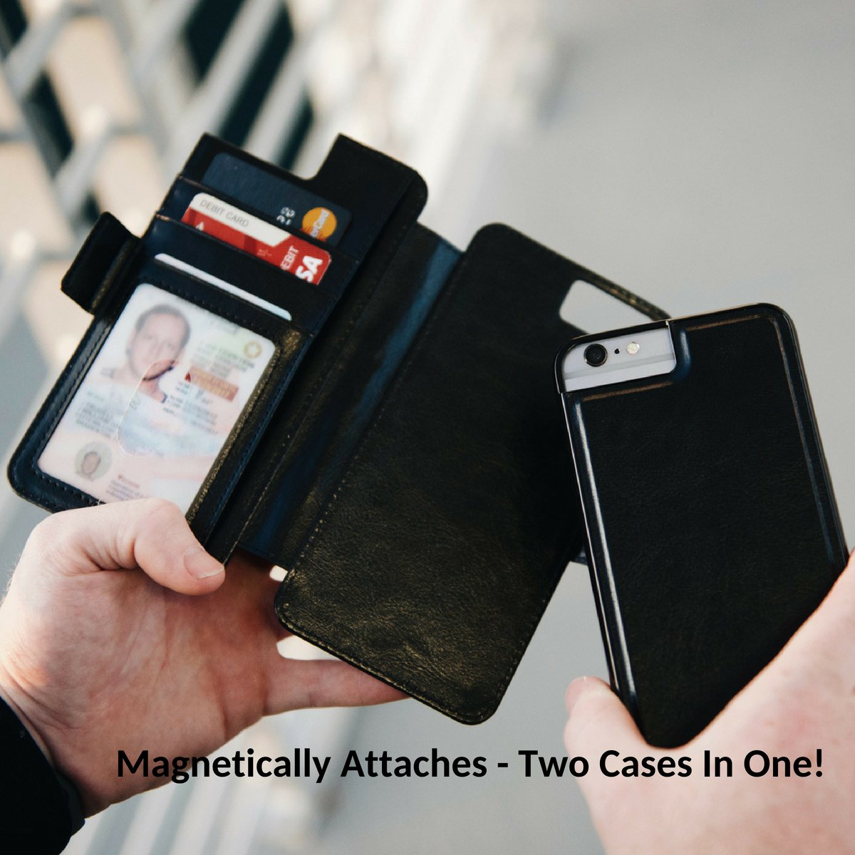Dark Horse Travel Thru View 7+ Wallet Case - Compatible with iPhone 7 Plus - Luxury Vegan Leather & Detachable Magnetic Shell | RFID Protection - Jet Black by Dark Horse Travel (Image #3)