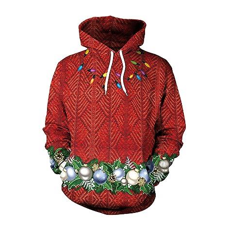 Zyx Unsiex Feo Navidad Jersey Sudaderas Árbol De Navidad, Navidad Bola 3D Imprimir Novedad Navidad