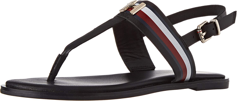 Tommy Hilfiger Corporate Leather Flat Sandal, Sandalias con Punta Abierta para Mujer