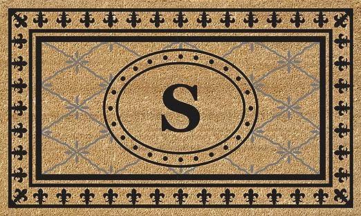 Nedia Home Super Scraper Bungalow Vinyl Coir Doormat Monogrammed I 18 x 30