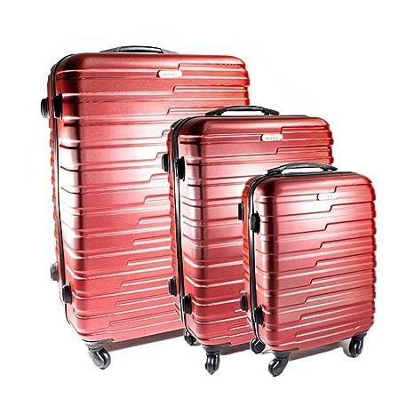 b9f6d50fcd73 ALEKO LG915BURG ABS Luggage Travel Suitcase Set with Lock 3 Piece ...