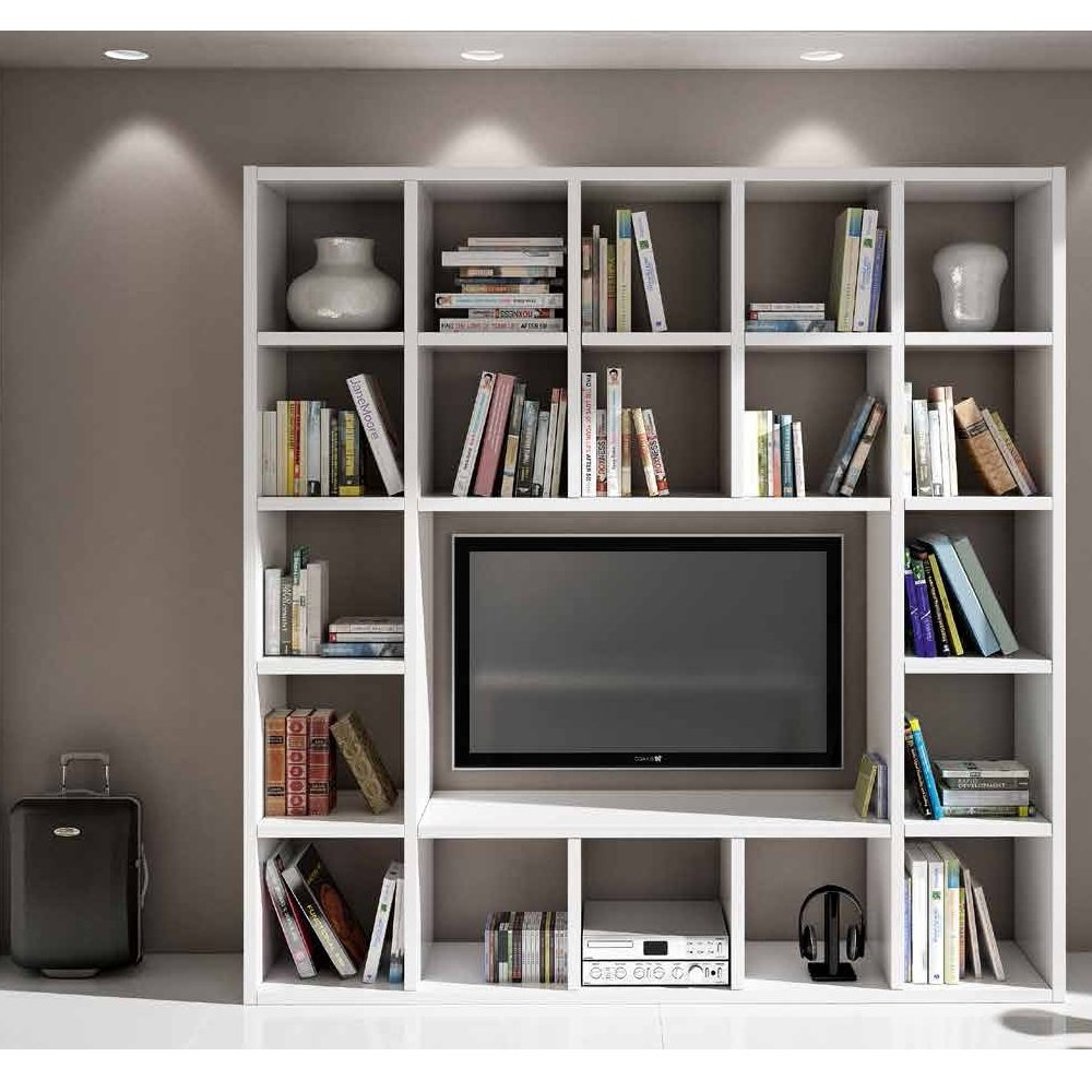 Set Soggiorno Composto Da Libreria E Porta Tv Bianco Frassinato ...