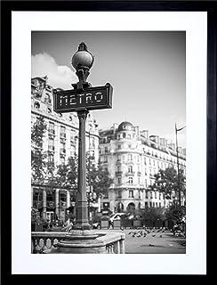 9x7 photo landmark metro sign paris black white framed art print f97x820