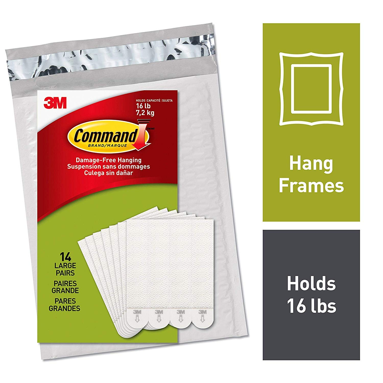 Command Large Picture Hanging Strips, 14 Pairs (36 Strips), Decorate Damage-Free, Holds 16 lbs, Ships in Own Container (PH206-14NA) (2 Sets(14 Pairs))