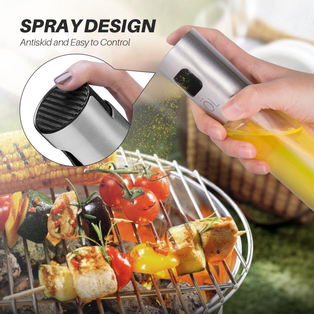 Dricar Spray Pulverizador Aceite - Pulverizador Aceite Cocina Rociador Aceite con 2 Cepillos de Limpieza para Barbacoa/Vinagre/Salsa de Soja(100 ml)