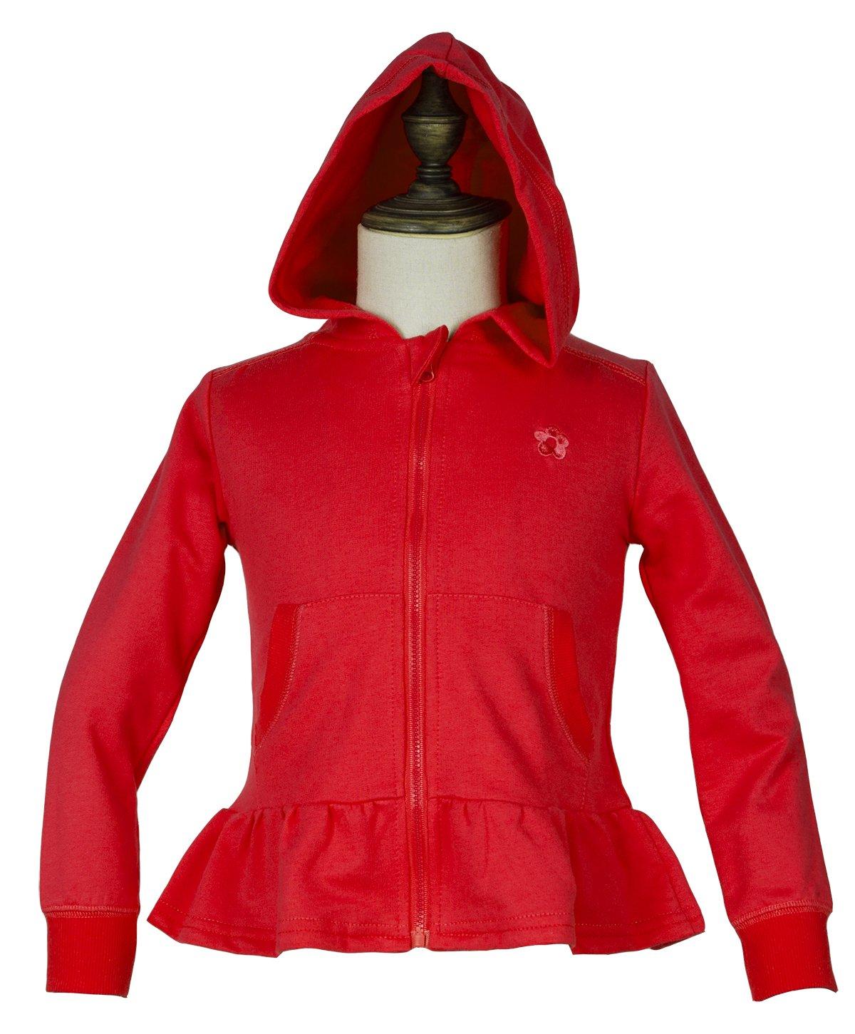 Girls' Long Sleeve Full-Zip Ruffle Bottom Jersey Hoodie Knit Jacket 100% Cotton