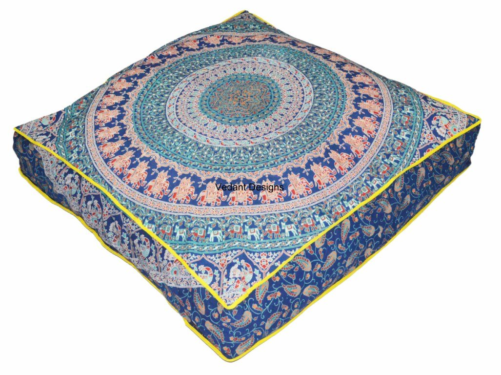 Vedant Designs Large Indian Meditation Floor Pillow Cover Throw 35'' Mandala Ottoman Cushion Dog Bed Cotton Pillow Sham Daybed Sofa Floor Outdoor Meditation Throw by