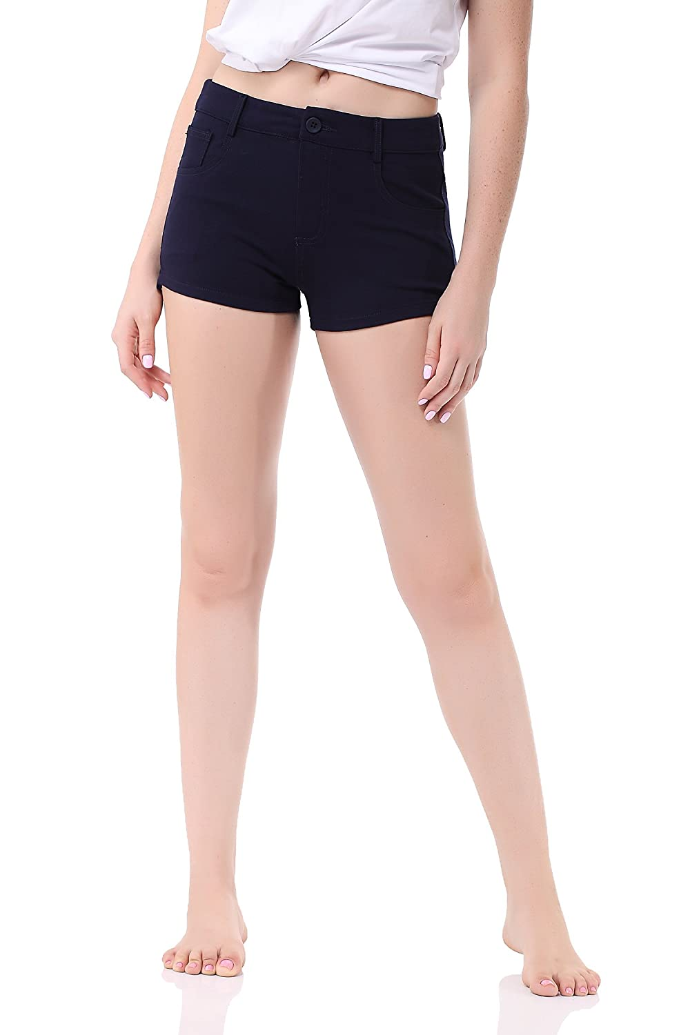 Pau1Hami1ton GP-02 Women's Bermuda Shorts Solid Summer Color Stretch Fitted Relaxed Flat Hot Walking Pants GP-02-1