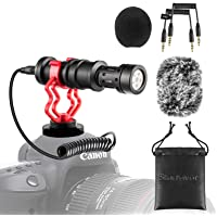 Universal Camera Microphone Video Mic Shotgun Starfavor SXR-10 with Shock Mount, Windscreen, Soft Case, Cable for iPhone…