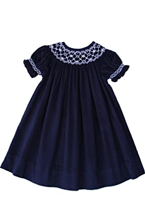 813a7e90b45 Amazon.com  Girls Smocked Special Occasion Party Bishop Dress in Navy  Corduroy  Clothing