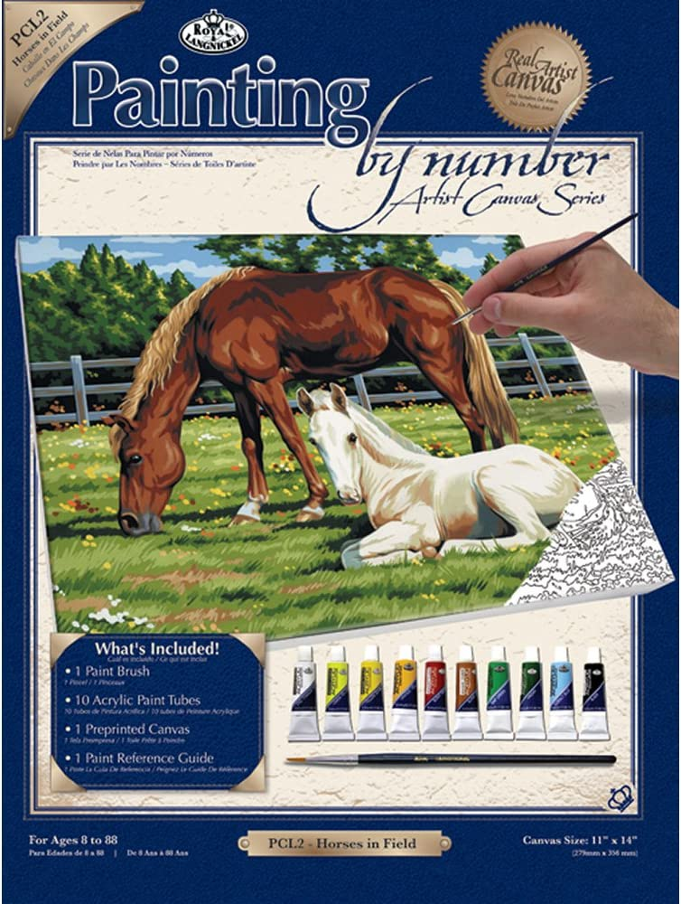 Royal & Langnickel Painting by Numbers Large Canvas Painting Set, Horses in Field