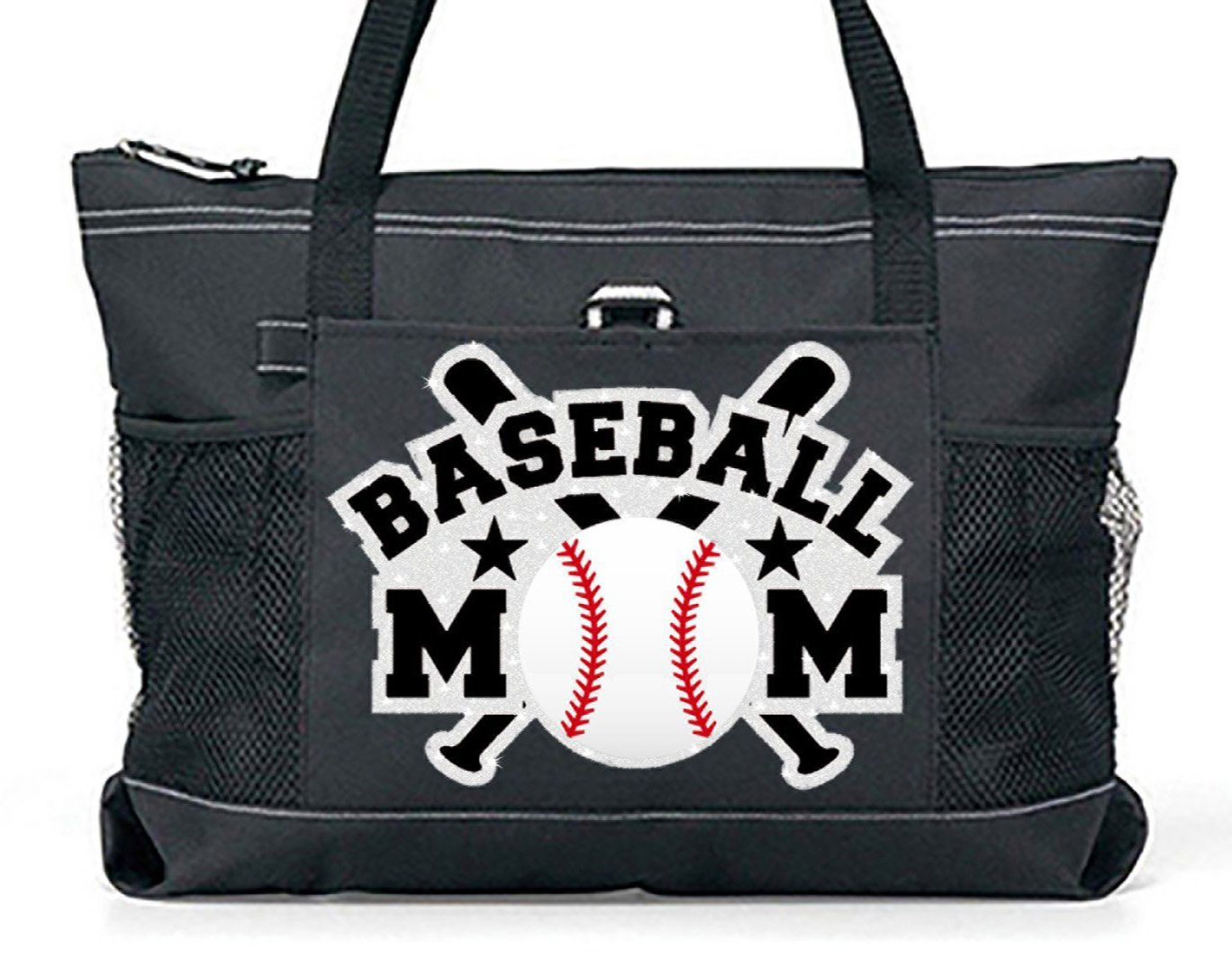 """Glitter Bats"" Baseball Mom Tote. Silver glitter Bats with white glitter Baseball on a Large Black Tote Totes-n-togs"