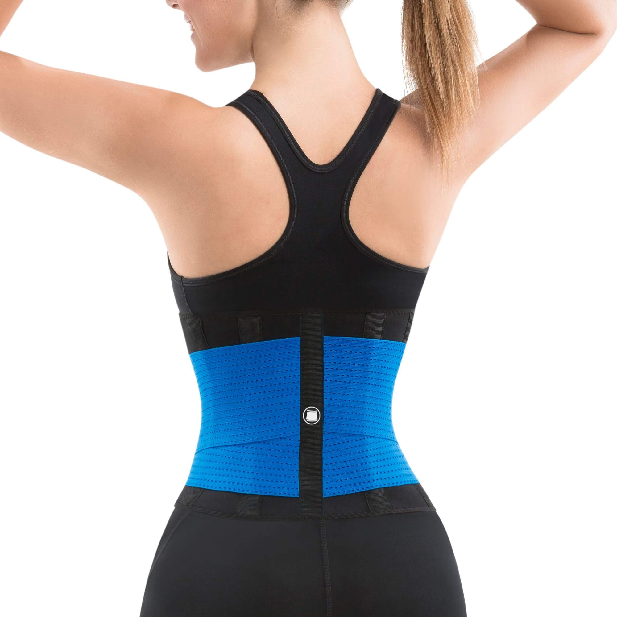 Slim Abs Waist Trainer Sweat Belt with Slimming Cream - Waist Trimmer for Women and Thermogenic Workout Gel (Blue, S/M) by Slim Abs Trilay (Image #3)