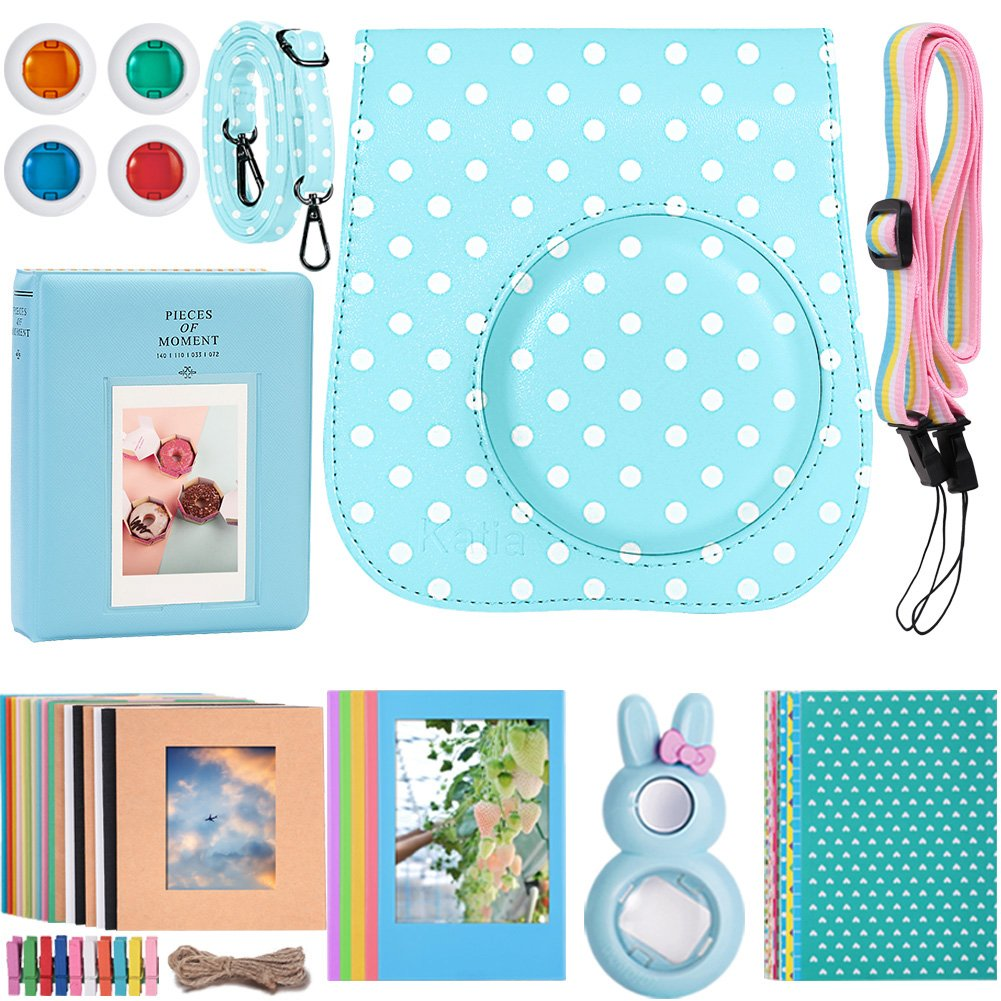 Katia Instant Camera Accessories for Fujifilm Instax Mini 9 or Mini 8 Instant Film Camera - (Fuji mini 9 Case with strap, Photo Album, Frame, Selfie Len, Filters, Stickes & more) - Blue Dot by Katia