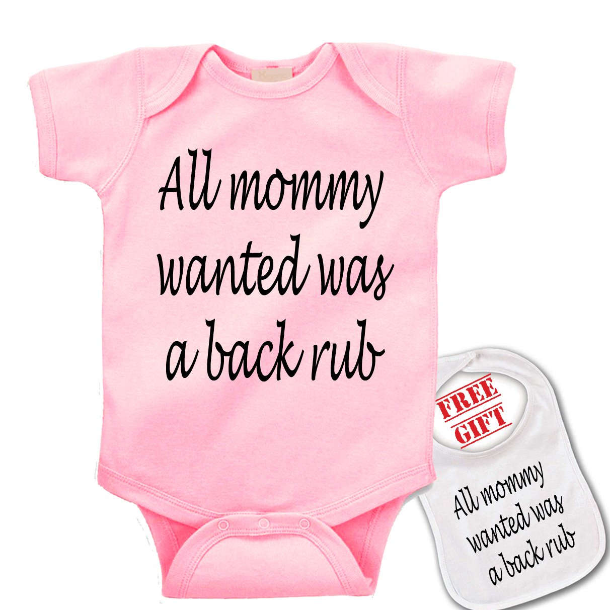 All Mommy Wanted was a backrub -Cute custom Baby bodysuit onesie & matching bib 88u