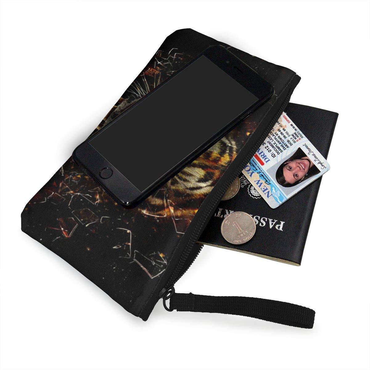 Canvas Cash Coin Purse,Ferocious Tiger Print Make Up Bag Zipper Small Purse Wallets