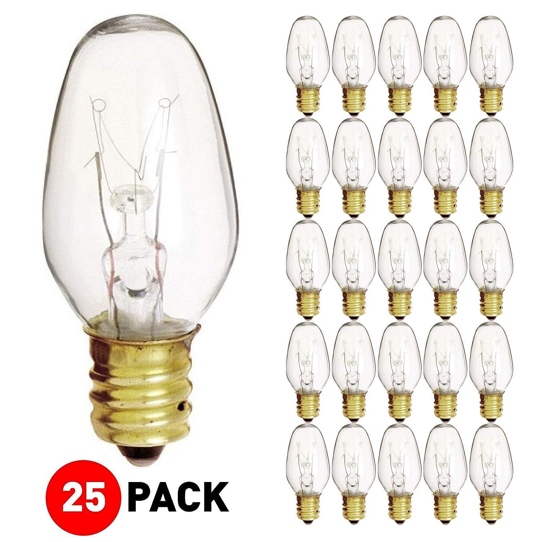 (25 Pack) 7 Watt 120V Candelabra Base Clear Night Light Bulb, 7C7
