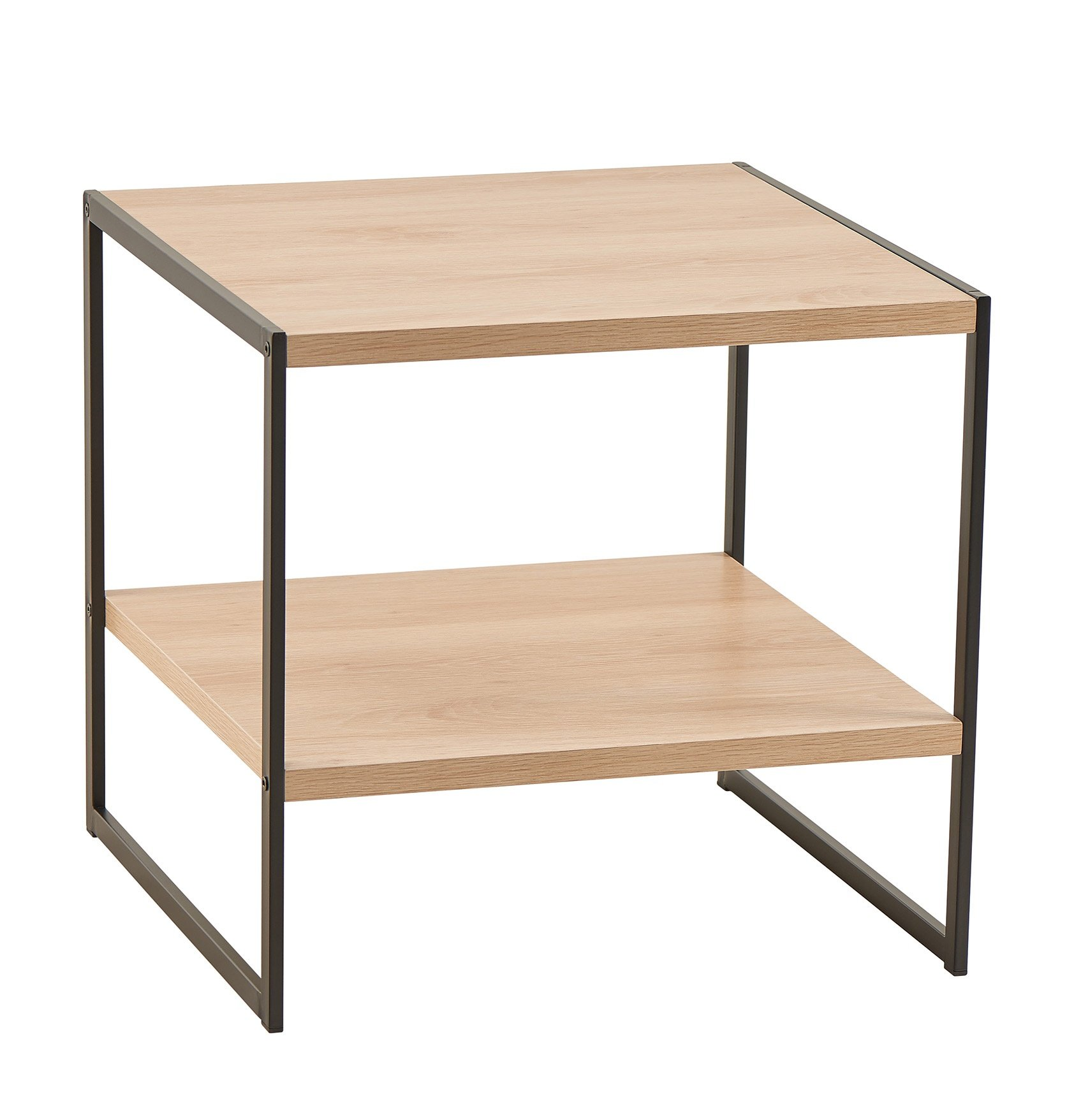 ClosetMaid 1310 2-Tier Square Wood Side Table with Storage Shelf, Natural