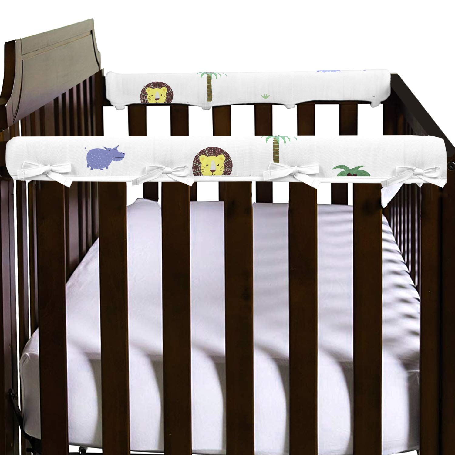 1-Pack Padded Baby Crib Rail Cover Protector U.S. Designthology Long Front Crib Rails 100/% Cotton Musiln White Lion