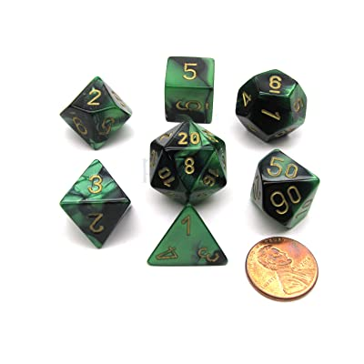 Polyhedral 7-Die Gemini Chessex Dice Set - Black-Green w/ Gold CHX-26439: Toys & Games