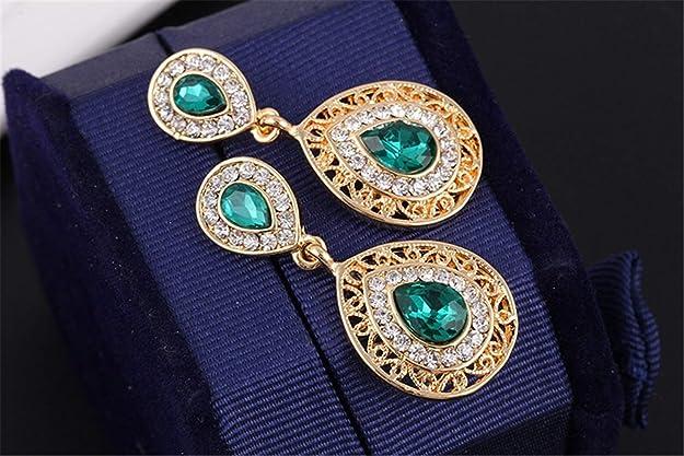 AILUOR Womens Retro Vintage Celtic Knot Waterdrop Green Gemstone Water Drop Pendant Necklace Stud Earrings Jewelry Adjustable