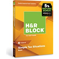 H&R Block Tax Software Basic 2018 with 5% Refund Bonus Offer [Amazon Exclusive] [PC/Mac Disc]