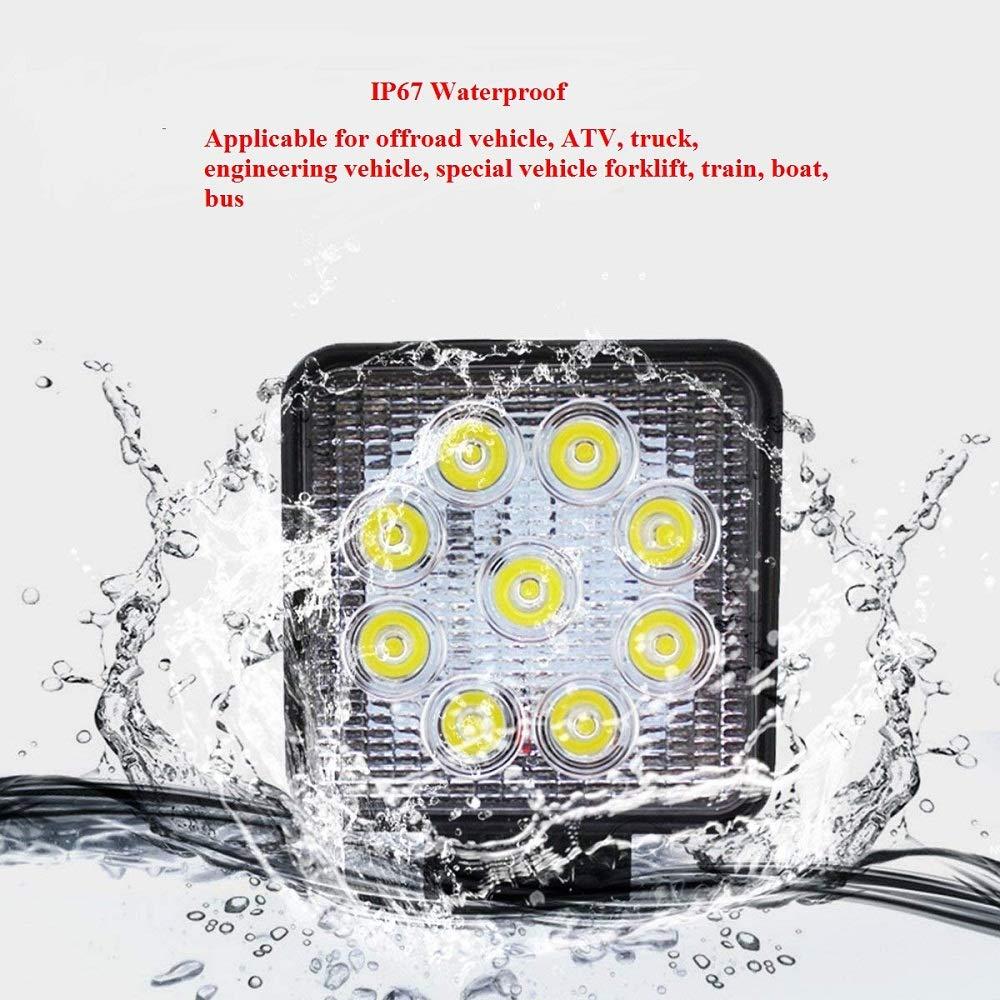 lampada da lavoro a LED per auto 10V-30V DC 2700LM Faretto da incasso ad alta potenza Luce bianca fredda 6000K-6500K IP67 Eidyer LED Faro da lavoro,Quadrato Faretto Led Da Lavoro 27W