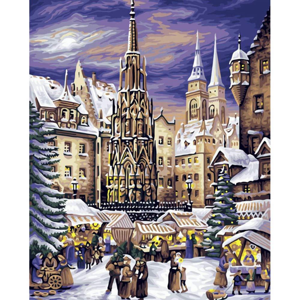 Mercado de Navidad de Nuremberg Paisaje DIY Pintura Digital por Números Arte de la Pared Moderna Pintura de la Lona Inicio 40X50 CM